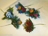Lot Of 5 Vintage Christmas Floral Picks Blue Pinecone Fruit Michaels