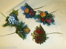 Lot of 5 Vintage NOS Christmas Floral Picks Blue Pinecone Fruit Michaels