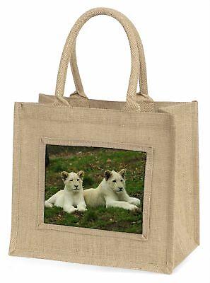 weiß Löwenbabys Große natürliche jute-einkaufstasche Weihnachten Geschenkidee,