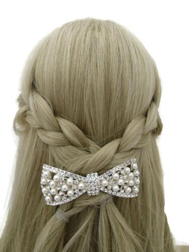 Perla de cristal hermoso diseño de arco Barrette Cabello Clip Plata Tono nupcial Baile de graduación