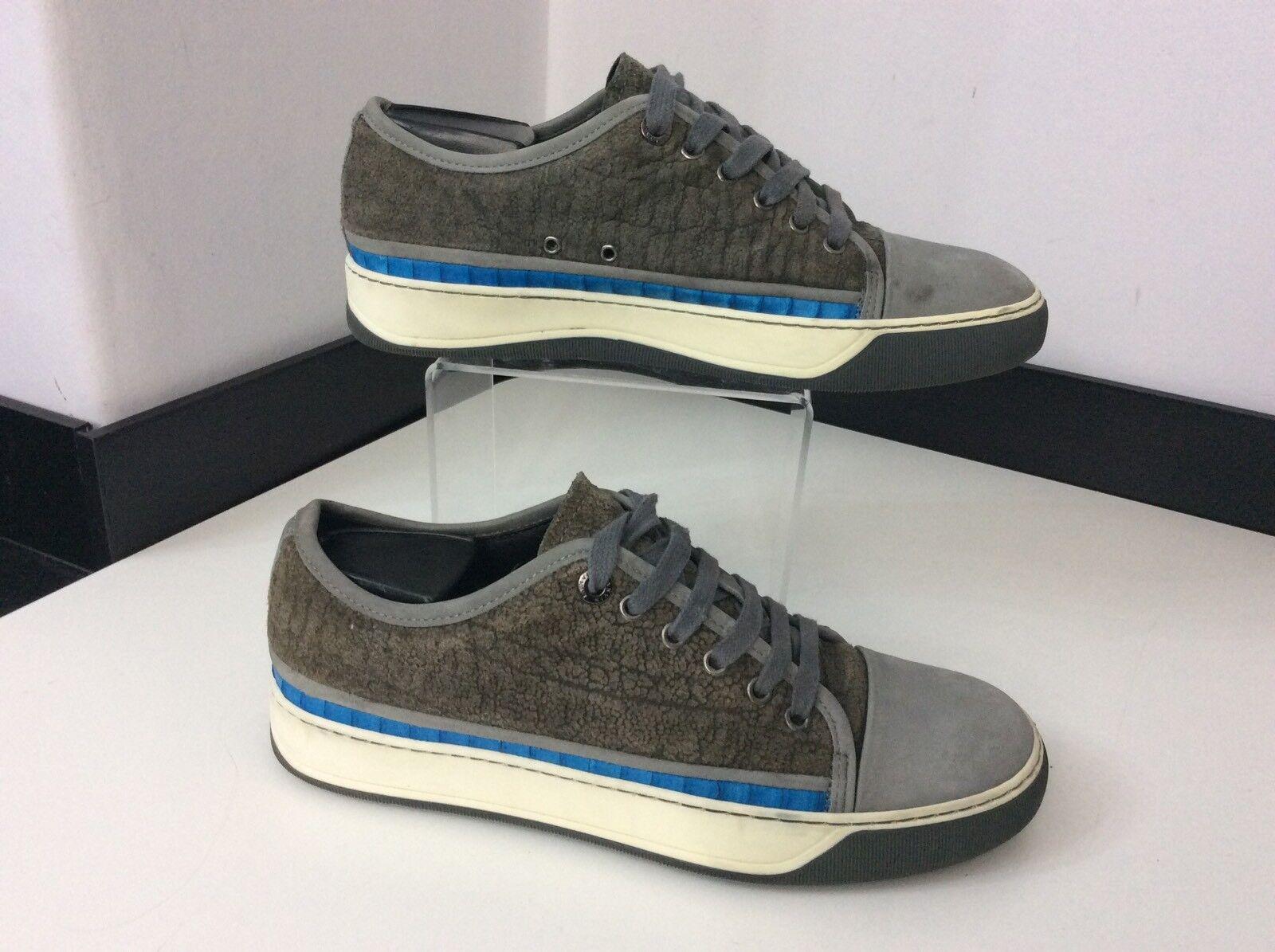 Lanvin Para hombre Zapatillas, Reino Unido 5 Eu39 Cuero gris, ribete azul, tenis, Zapatos, en muy buena condición
