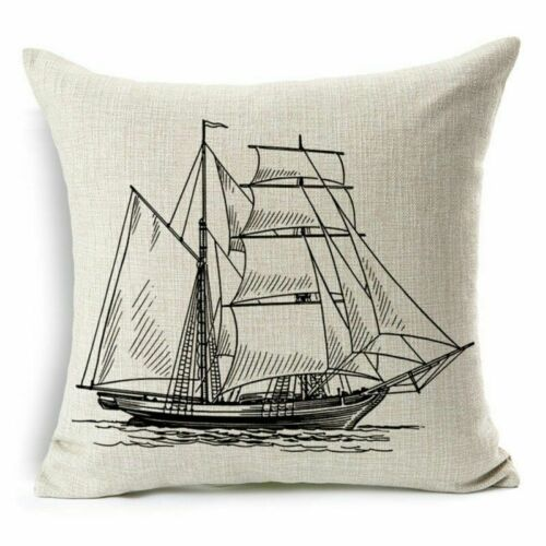 """18/"""" Marine Ocean Creature Cotton Linen Pillow Case Sofa Cushion Cover Home Decor"""