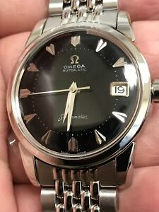 RARE-VINTAGE-OMEGA-SEAMASTER-BLACK-DIAL-DATE-CAL-503-AUTOMATIC-MAN-039-S-WATCH