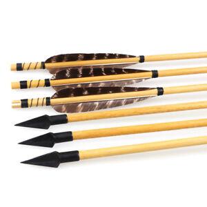 IRQ-Archery-32-039-039-Wooden-Arrows-Turkeys-Feathers-with-Steel-Arrowhead-Hunting-Tip