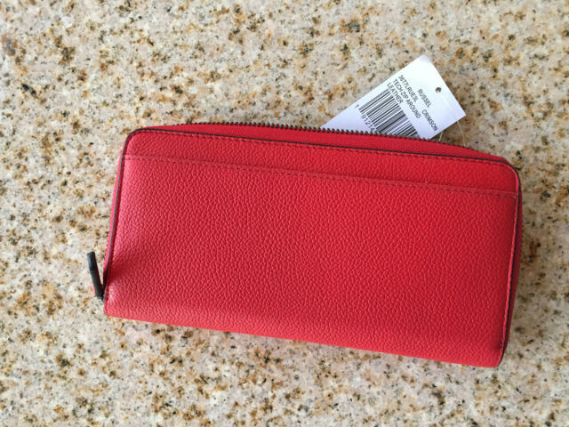 08a18ed34528 Michael Kors Russel Crimson Tech Zip Around Leather Wallet Red for ...