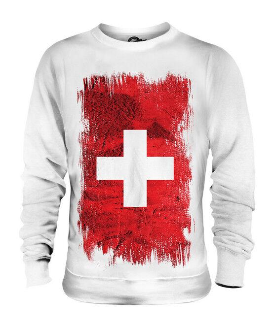 SWITZERLAND GRUNGE FLAG UNISEX SWEATER TOP SCHWEIZ SVIZZERA SUISSE SWISS SVIZRA