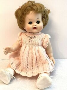 Madame-Alexander-Kathy-Baby-Doll-Drink-Wet-Cries-Red-Hair-15-Peach-Outfit-1950s