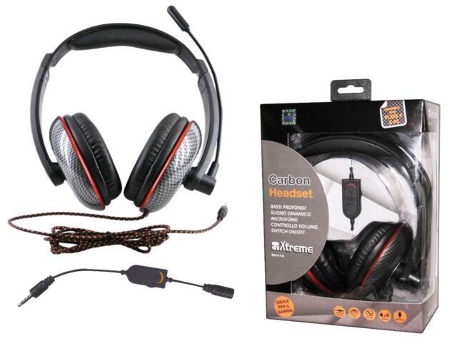 Cuffia GAMING stereo CARBON microfono controllo volume MP3 PC SMARTPHONE PS4