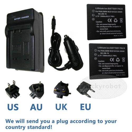 Cargador para Panasonic CGA-S008E DMW-BCE10 SDR-S26 SDR-SW20 2 XReplacement Batería