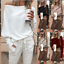 New-Womens-Off-Shoulder-Baggy-Ladies-Tops-Loose-Blouse-Oversized-Sweater-Jumper thumbnail 1