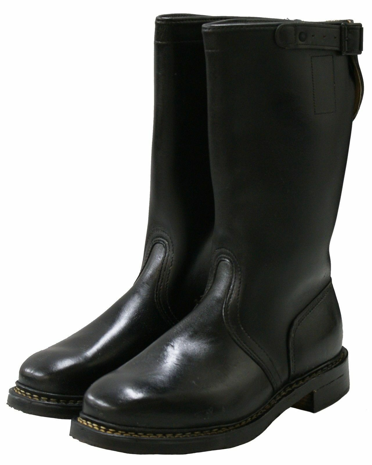 NEW 100% GENUINE GERMAN MILITARY ARMY BLACK LEATHER MOTORBIKE JACK RIDING BOOTS