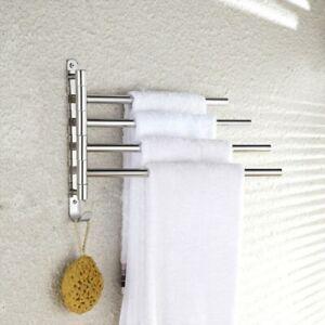 Handtuchhalter Schwenkbar 4 Armig Wand Handtuchring Handtuchstange Bad Kuche Ebay