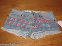 Roxy Denim Casual Short Shorts Juniors Womens Women's 7 Rn090233 Blue Jean Nwt^