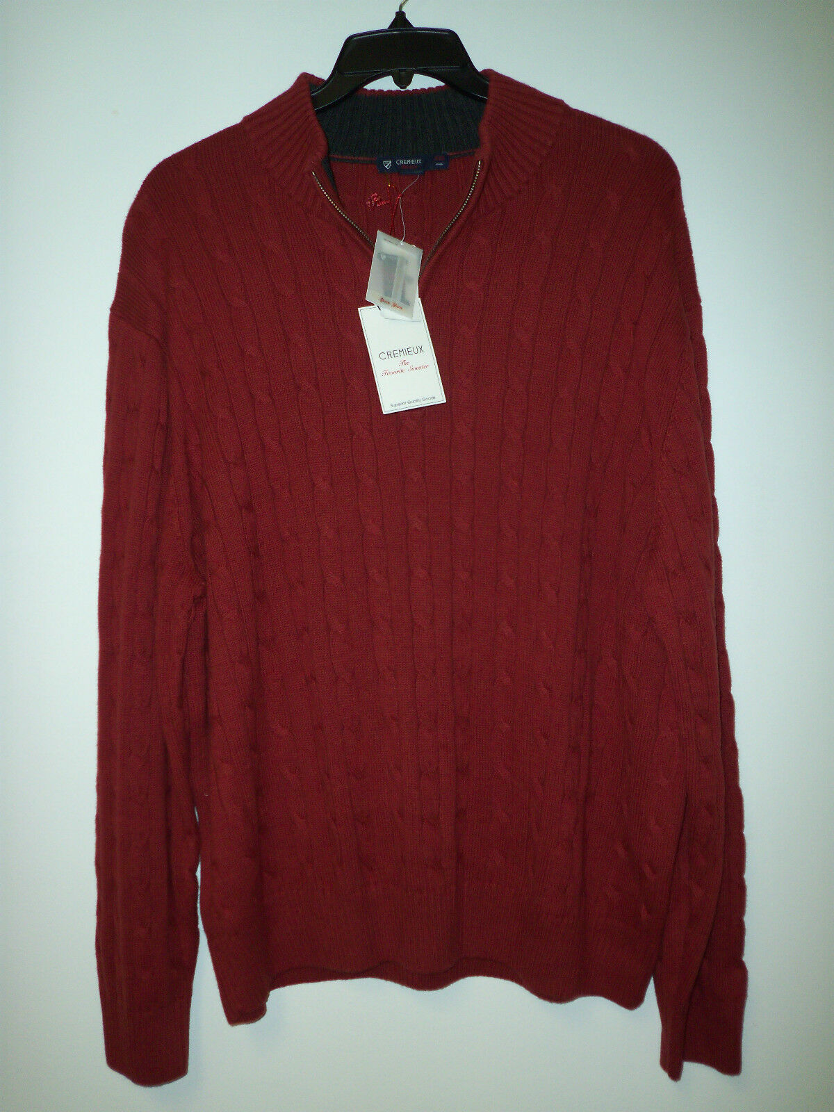 Cremieux Collection New Mens Red Heather 1 2 Zip Sweater XXL Shirt