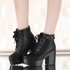 1d49d2f9d9ee Womens Block Chunky Heels Buckle Platform Lace-Up Punk Goth Ankle ...
