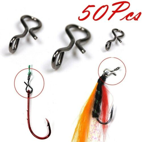 50Pcs Black Fly Fishing Snap Quick Change For Hook /& Lures Carbon Steel