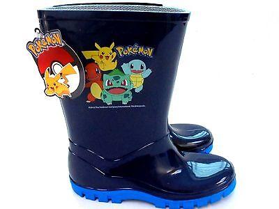 Chicos nuevos Pokemon Azul Marino Welly Botas Wellington Wellies Talla 7 - 1