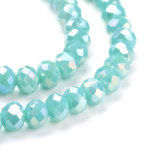 20Strand Electroplate Faceted Abacus Glass Beads Strand Loose Spacer Beads 6x4mm