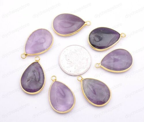Natural Amethyst Teardrop Gold Edge Chakra Reiki Pendant Necklace Earrings