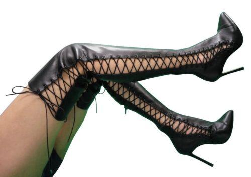 Nero Custom Stivali Stiefel Giohel Overknee 38 Italy Corset Boots Leather Black Rw5qBzO