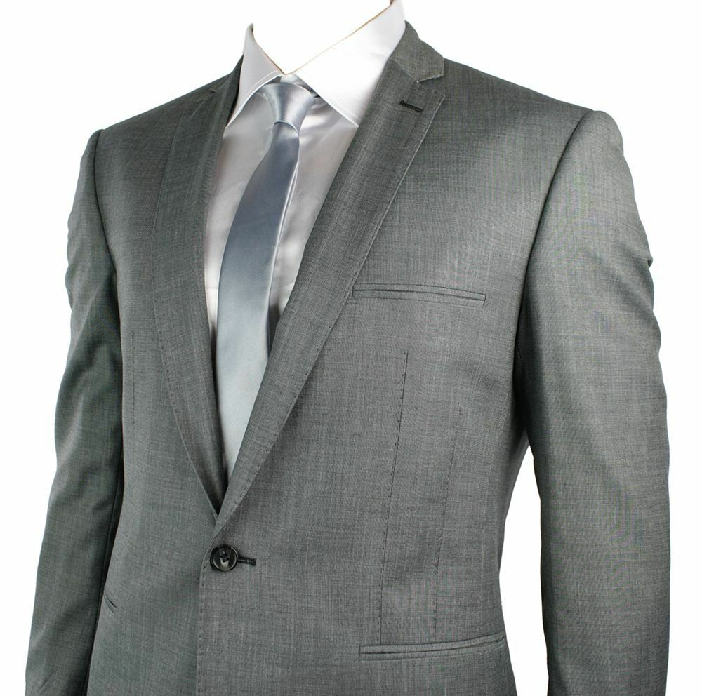 Mens Grey Formal Suit Blazer & Trouser Office Wedding Party 1 Button Slim Fit