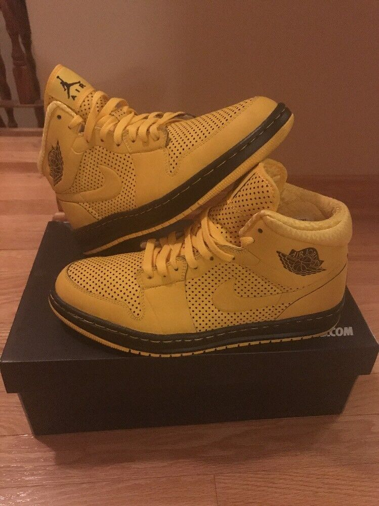 Nike Air Jordan 1 custom Nike ID Black and Yellow Shoes Special limited time
