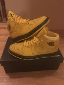 Id gele Jordan en Air 1 zwarte schoenen Nike Custom AjL54R