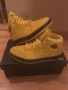 9fc4371c088 Nike Air Jordan 1 custom Nike ID Black and Yellow Shoes | eBay