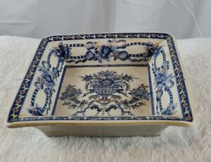 Blue And White With Gold Accents Square Decorative Dish Bowl Floral Design