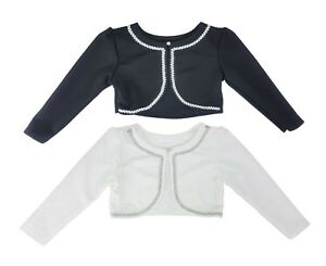 Girls-childrens-kids-Bolero-Shrug-Cardigan-Diamond-Button-Age-4-to-14-Years