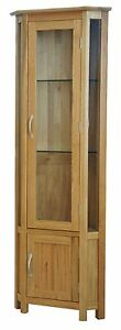 Canberra-solid-oak-furniture-glass-corner-display-cabinet-unit