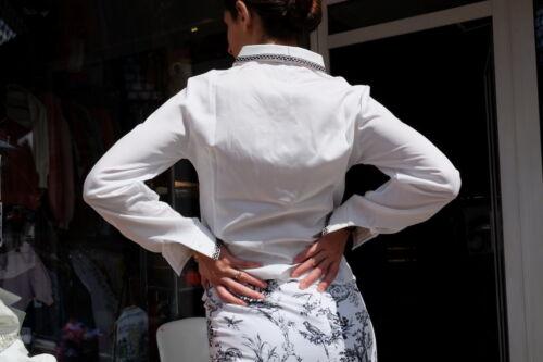Blouse True White Damen Shirt Hemd Vintage Sterne Damenmode 70´s Bluse 70er Weiß wCRq4C