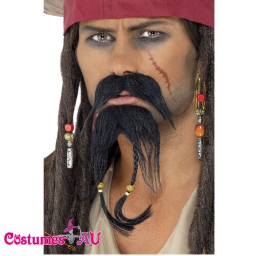 Caribbean Pirate Beard Moustache Facial Hair Set Jack Sparrow Costume Accessory
