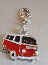 Anhänger VW Bus Bulli Emaille rot Charm mit Karabiner für Bettelarmband NEU
