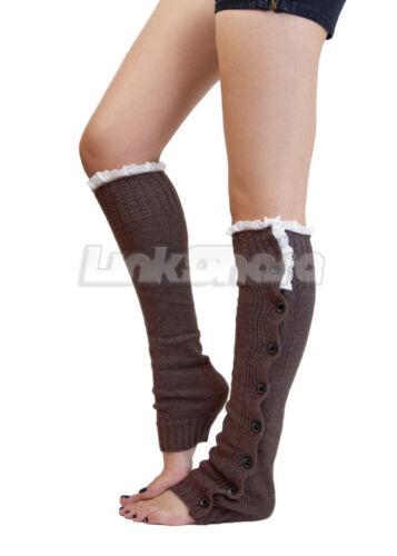 TX LOCAL Women Knit High Knee Lace Leg Warmers Crochet Winter Button Boot Socks