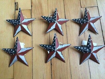 "Set of 3 PATRIOTIC AMERICANA BARN STARS 12/""//8/"" PRIMITIVE RUSTIC AMERICAN DECOR"