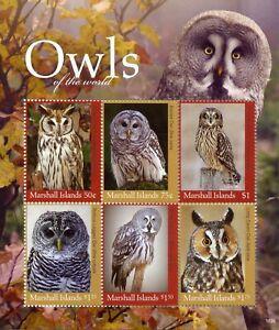 Humble Îles Marshall 2018 Neuf Sans Charnière Owls Of World Rayée Rayures Owl 6 V M/s Oiseaux Timbres-afficher Le Titre D'origine Magasin En Ligne