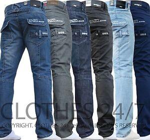 Hombre-Nuevos-Enzo-Jeans-Azul-Marca-de-Diseno-Recto-Lavado-Todas-las-Cinturas-amp