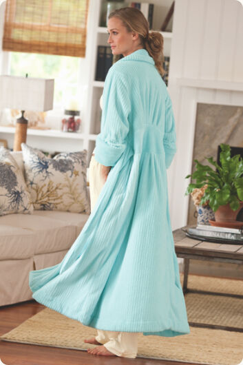Soft Surroundings bluee Lagoon Classic Ribbed Chenille Cozy Wrap Robe M 8 10