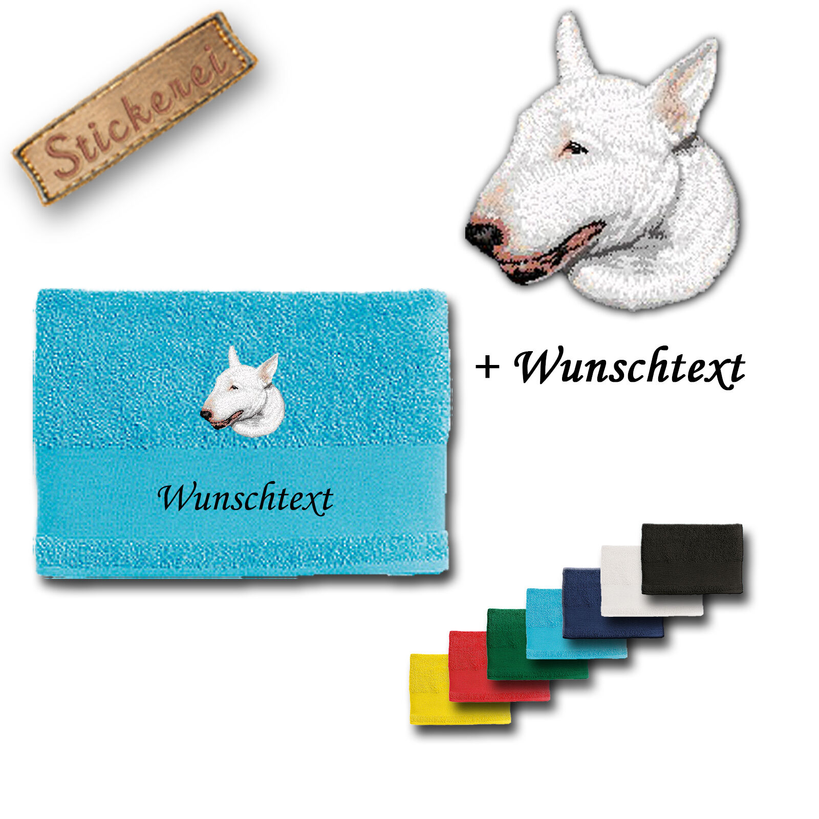 Bath Towel Cotton Embroidered Dog Bull Terrier White + Name