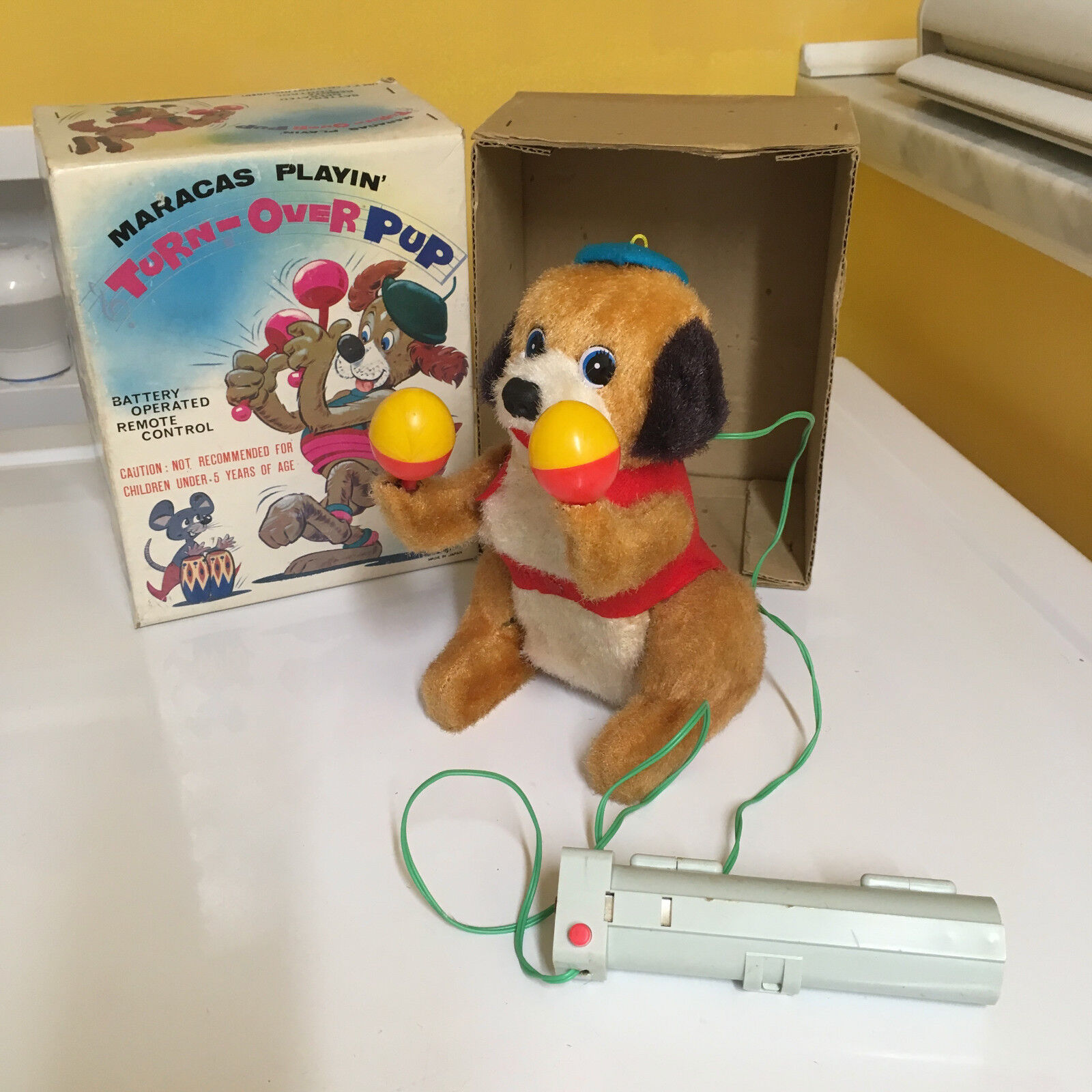 VINTAGE NOMURA TEATHERED R C TURN-OVER PUP FULLY WORKING WITH ORIGINAL BOX