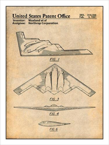 Northrop B-2 Spirit Stealth Bomber Patent Print Art Drawing Poster 18X24
