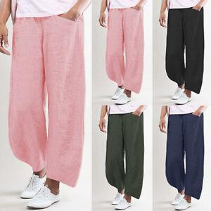 Mode-Femme-Pantalon-Taille-elastique-Poches-Casuel-en-vrac-Jambes-larges-Plus