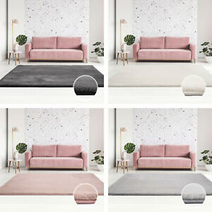 Tapis-d-039-un-epais-polyester-Soft-amp-Shine-Uni-unicolore-Anthracite-Ivory-Rose-Argent