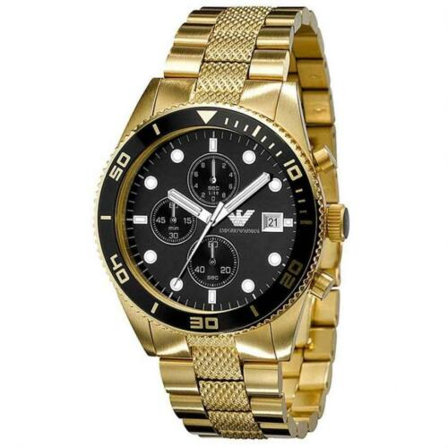 1 of 1 - NEW EMPORIO ARMANI AR5857 Mens Watch Gold Black Chronograph Stainless AR5857