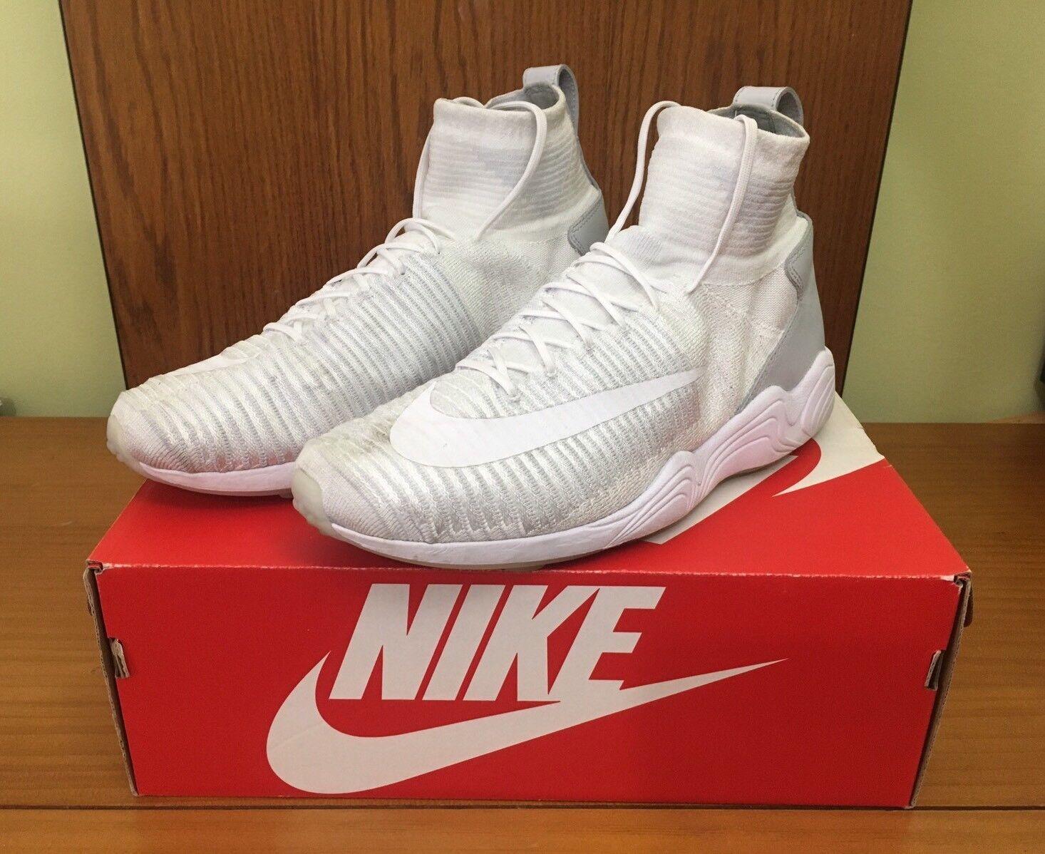 Nike zoom luft sprunghafter xi fk flyknit weiße / wolf grauen größe 9 844626-100 w / box