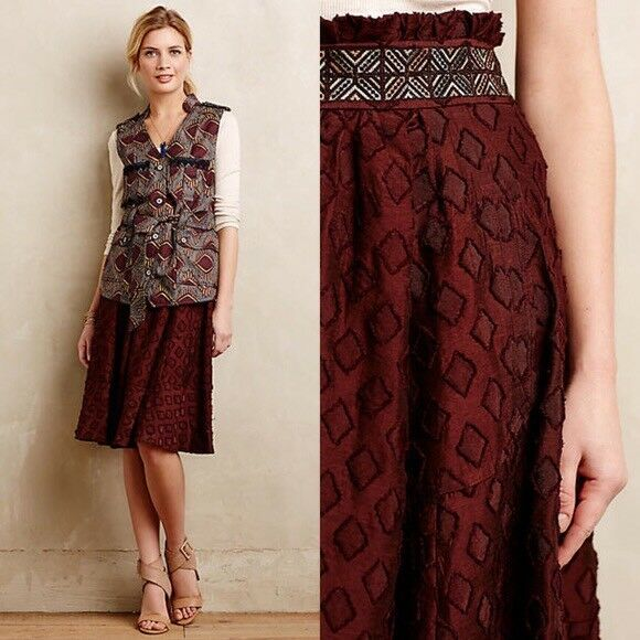 NEW WITH TAGS Anthropologie Diamond-Cut Midi Skirt by Maeve Size 4 See Photos