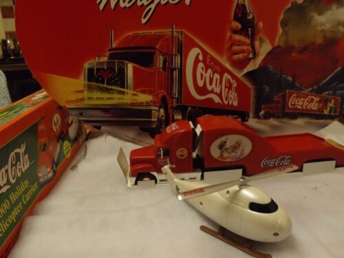 COCA COLA 2000 CHRISTMAS HELICOPTER CARRIER LIGHT UP TRUCK IN BOX.