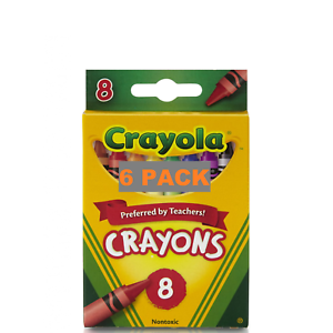 Crayola Classic Color Crayons School Supplies, 8 Colors  X 6 PACK  NEW