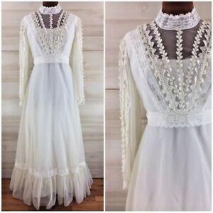 62b52b46ac9b Vintage 60s swiss dot long sleeve crochet hippie boho long wedding ...